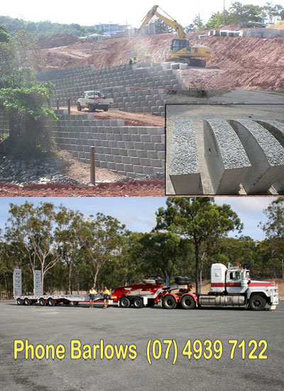 Barlows Earthmoving  Based in Central Queensland- Retaining Walls use Keppel Blocks from Barlows Earthmoving.